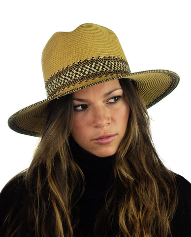 NYFASHION101 Multicolor Weaved Band and Trim Panama Fedora Hat