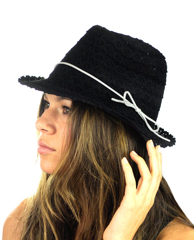 NYFASHION101 Slim Rope Band Crushable Cotton Lace Vented Fedora Hat