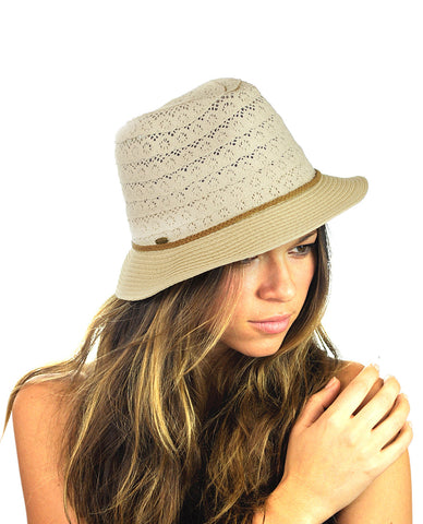NYFASHION101 Braided Trim Spring Summer Cotton Lace Vented Fedora Hat