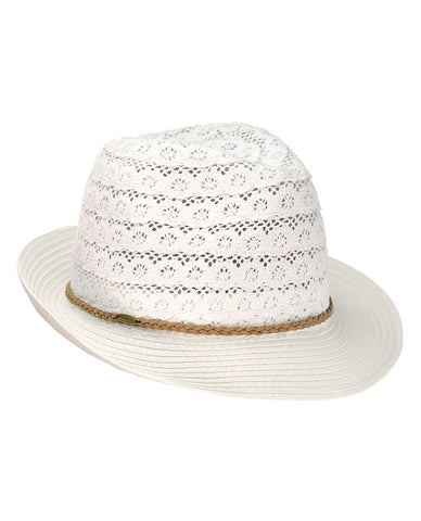 51a630cc6 NYFASHION101 Braided Trim Spring Summer Cotton Lace Vented Fedora Hat