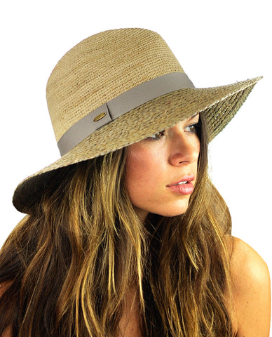 NYFASHION101 Solid Color Band Raffia Straw Weaved Panama Fedora Sun Hat