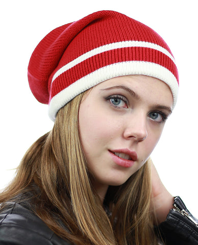 NYfashion101 Trendy Baggy Slouchy & Comfort Knitted Daily Beanie Hat w/Stripe