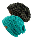 Unisex Two Tone Warm Cable Knit Thick Beanie Cap, 2 Pack