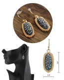 Women's Stone Stud Rugged Edge Oval Charm Hook Earrings