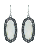 Women's Stone Stud Center Milky White Gem Elliptical Charm Hook Earrings