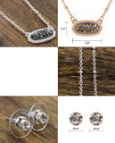 Stone Stud Rugged Edge Oval Charm Bead Link Chain Necklace and Earrings Set