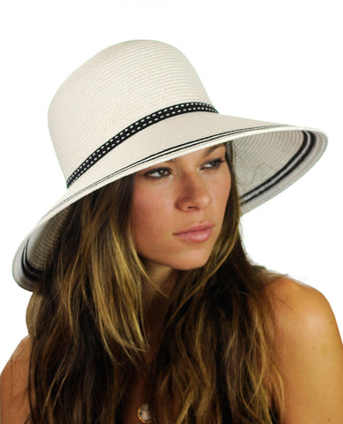 NYFASHION101 Women's Dotted Band Two Tone Weaved Trim Floppy Sun Hat