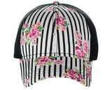 C.C Floral and Pinstripe Print Front Panel Adjustable Mesh Trucker Baseball Cap
