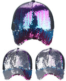 C.C Ponycap Messy Bun Ponytail Reversible Magic Sequin Adjustable Baseball Cap