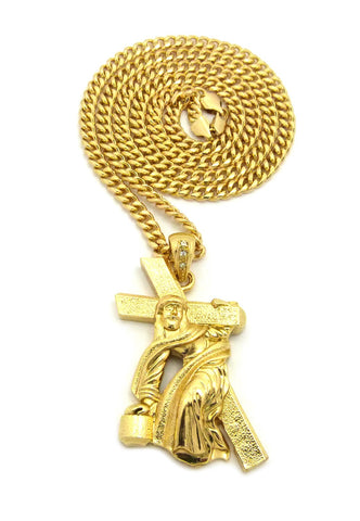 "Rugged Cross Jesus Falling on His Way to Calvary Pendant w/6mm 36"" Cuban Chain Necklace"