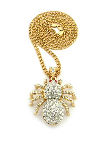 "Stone Stud Red Eyed Spider Pendant w/5mm 30"" Cuban Chain Necklace, Gold/Silver-Tone"