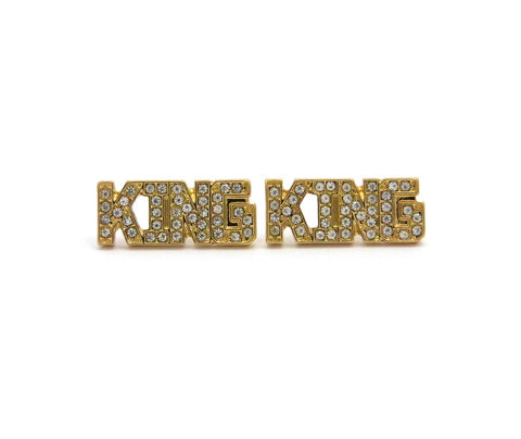 Stone Stud KING Pierced Earrings, Gold-Tone