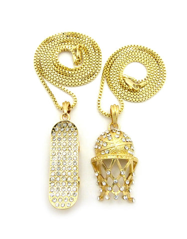 "Stone Stud Basketball Net & Skateboard Pendant Set w/ 2mm 24"" & 30"" Box Chain Necklaces"