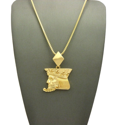 "Polished Poker King pendant w/2mm 24"" Box Chain Necklace"