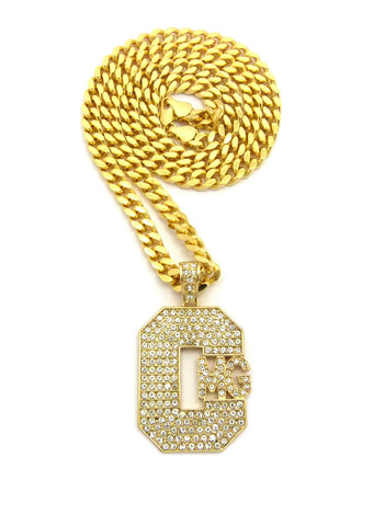 "Stone Stud Hip-Hop CMG Record Label Initials Pendant w/6mm 24"" Box Cuban Chain, Gold-Tone"