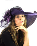 NYFASHION101 Kentucky Derby Enlarged Sheer Floral Accent Sinamay Dress Hat