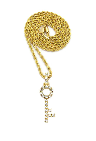 "Stone Stud Lever Lock Key Micro Pendant w/2mm 24"" Rope Chain Necklace"
