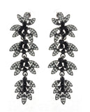 Women's Rhinestone Studded Leaf Dangling Black Stone Vine Earrings in Black