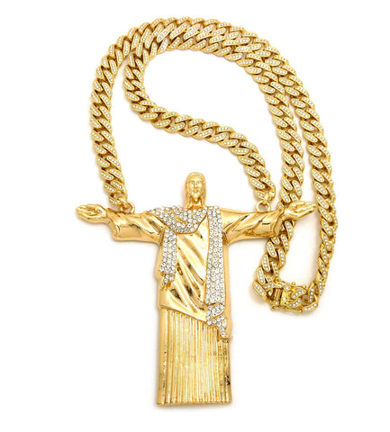 "Stone Stud Christ the Redeemer Pendant with 12mm 30"" Iced Out Cuban Chain Necklace in Gold-Tone"