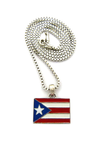 Puerto Rico Flag Micro Pendant with Chain Necklace