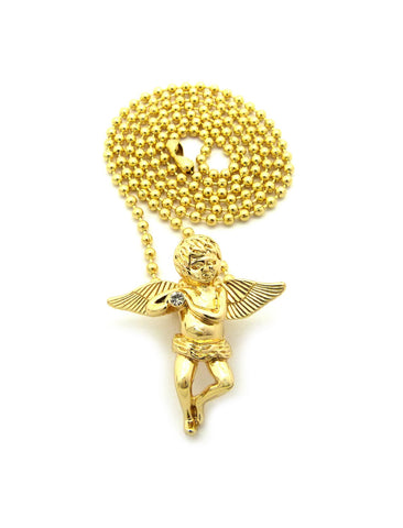 Winged Cherub Angel Micro Pendant w/ Chain Necklace