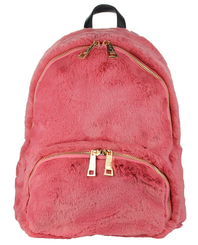 C.C Women's Faux Fur Fuzzy Backpack Schoolbag Shoulder Bag Purse