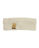 NYfashion101 Sparkly Crystal Accent Knitted Elastic Warm Headband Headwrap - Beige