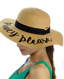 C.C Women's Paper Weaved Beach Time Embroidered Quote Floppy Brim Sun Hat