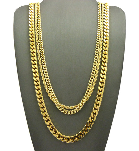 Hip-Hop Style Rope Chain, Cuban Chain & Box Cuban Chain Necklace Set, Gold-Tone