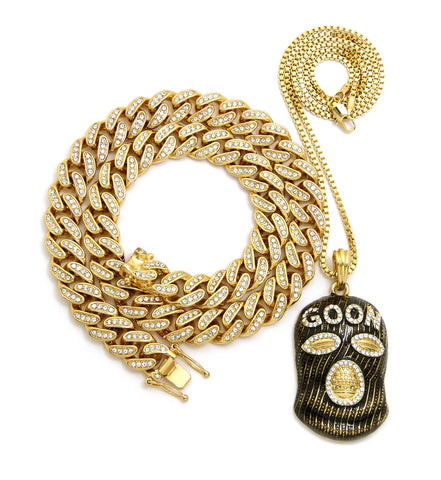Hip Hop Rapper's Style Iced Out Cuban Chain & Goon Ski Mask Man pendant with Box Chain Necklace Set