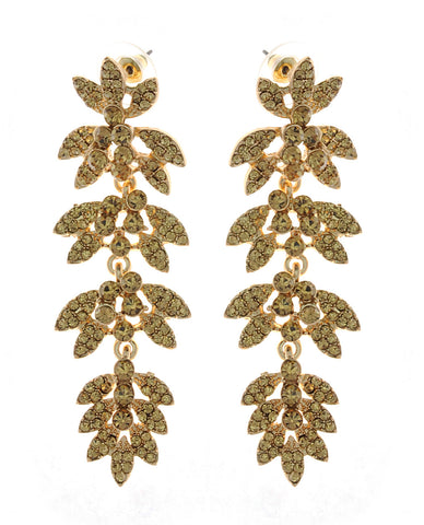 Women's Rhinestone Studded Leaf Dangling Stone Vine Earrings in Gold-Tone