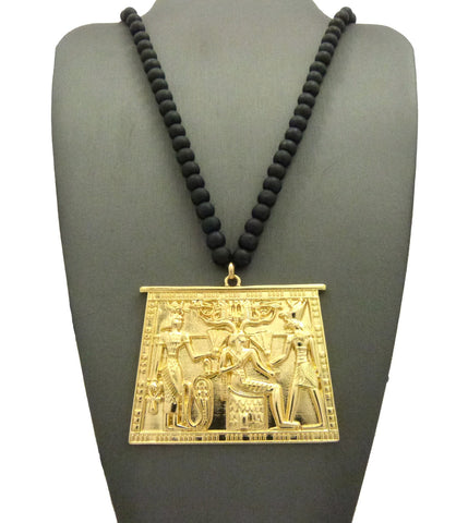 "Gold-Tone Egyptian Hieroglyphic Tablet with 6mm 30"" Wood Bead Necklace"
