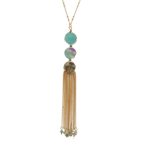 "Women's Round Bead with Chain Tassel Dangling Pendant with 30"" Chain Necklace"