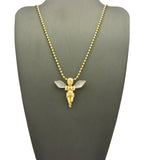 Dusted Extended Wing Pray Angel Micro Pendant w/ Chain Necklace