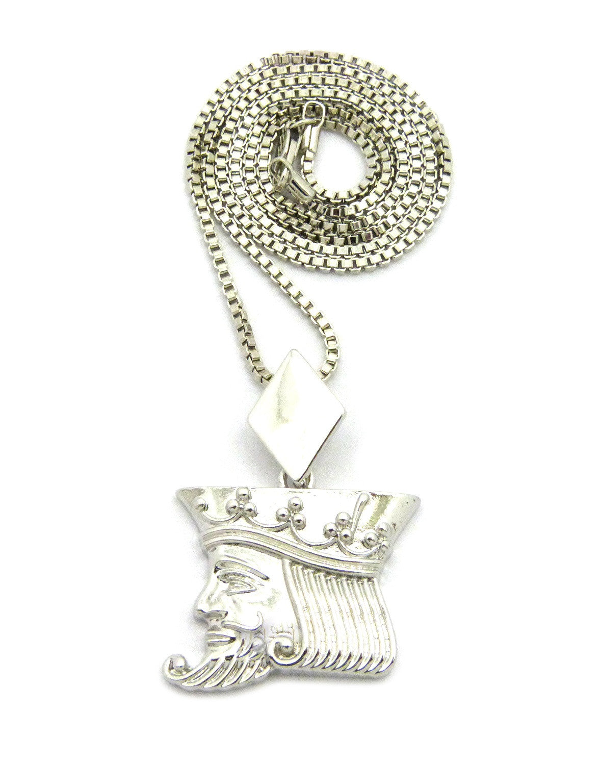 """Polished Poker King pendant w/2mm 24"""" Box Chain Necklace"""
