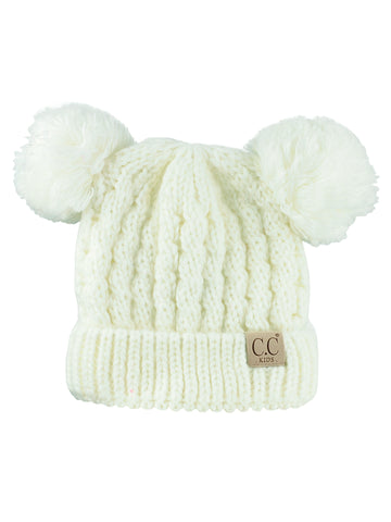 c9b6b342c8d C.C Kids  Children s Cable Knit Double Ear Pom Cuffed Beanie Cap Hat
