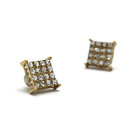 4 Stone Row Square Shape Magnetic Stud Earrings