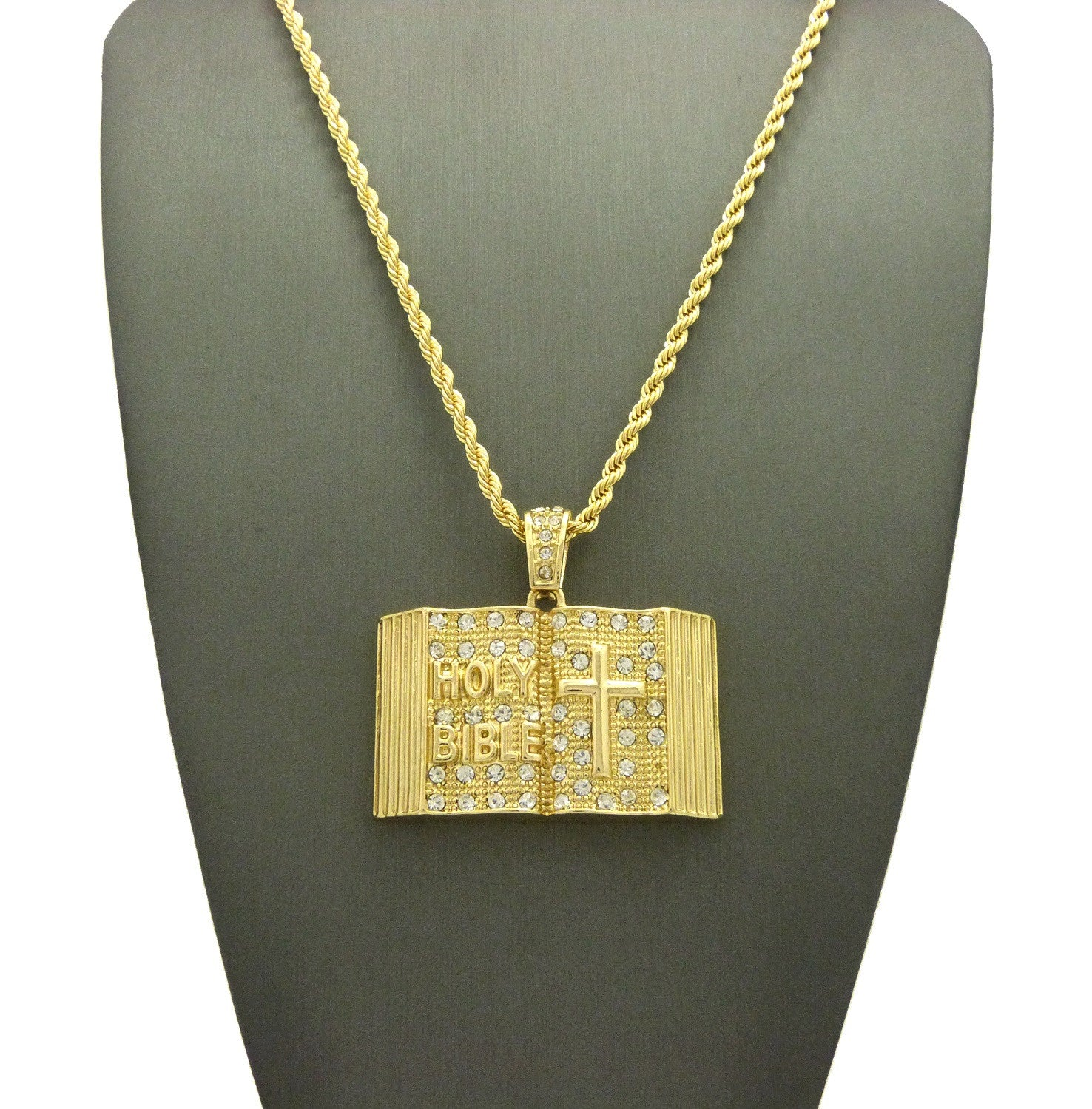 Stone Stud Opened Holy Bible Pendant Cuban Chain Necklace, Gold-Tone