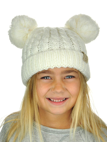 Kids' Clothing, Shoes & Accessories C.C Kids' Children's Cable Knit Double Ear Pom Cuffed CC Beanie Cap Hat New Boys' Hats