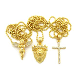 "Extended Wing Angel, King Lion, & Slim Cross Pendant Set w/ 2mm 24"" Ball Chain Necklaces in Gold-Tone"