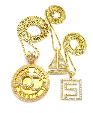 Stone Stud QC Initials, Sailboat & Maze Pendant Set w/ Box Chain Necklaces, Gold-Tone