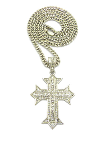 "Stone Stud Simple Cross on Heraldic Cross Pendant w/6mm 36"" Cuban Chain Necklace, Silver-Tone"