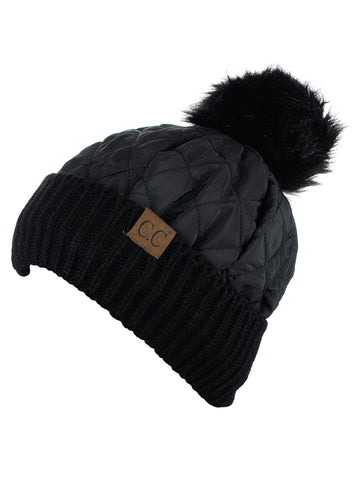458e659ba50 ... C.C Soft Quilted Puffer Detachable Faux Fur Pom Inner Lined Cuff Beanie  Hat ...