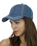 C.C Unisex Denim Adjustable Velcro Strap Low Profile Baseball Cap Hat