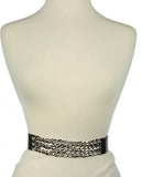 Women's Triple Row Silver-Tone Chain Link Chain Elastic Stretch Waist Belt
