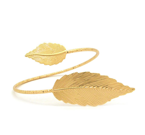 Women's Fashion Gold-Tone Leaf Upper Arm Cuff Bangle