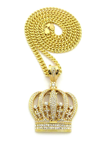 "Stone Stud Royal Crown Pendant w/6mm 30"" Cuban Chain Necklace, Gold-Tone"