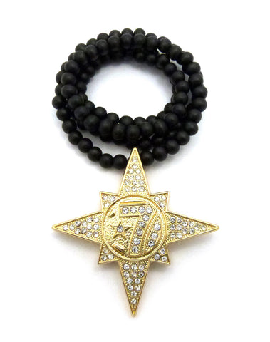 "Gold-Tone Stone Stud 5 Percenter Star Pendant with 8mm 33"" Wood Bead Necklace"