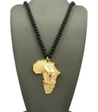 "Diversified Single Pendant Piece w/ 6mm 30"" Wood Bead Necklace - Roaring Lion on Africa"