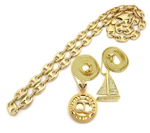 Mariner Chain, Stone Stud Sailboat & Micro Initials QC Pendant Set w/Box Chain Necklaces, Gold-Tone